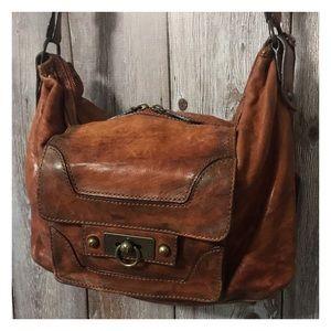 Frye Cameron Cognac Leather Hobo Handbag